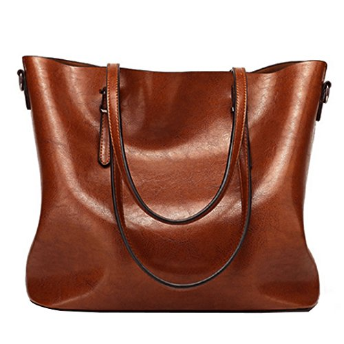 Felice Women's Large PU Leather Tote Vintage Style Work Commute Handbag Shoulder Bag ()