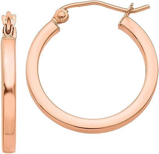 Lex /& Lu 14k Rose Gold Polished Square Hoops