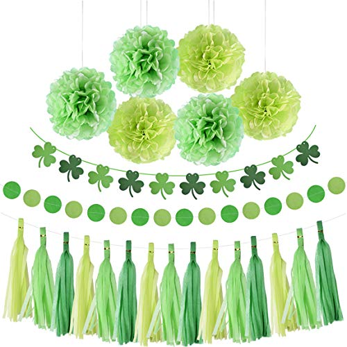 St. Patrick 's Day Shamrock Decorations Green Hanging Paper Banner Garland Pom Pom Flowers Tassels Circle Decor Party Supplies]()