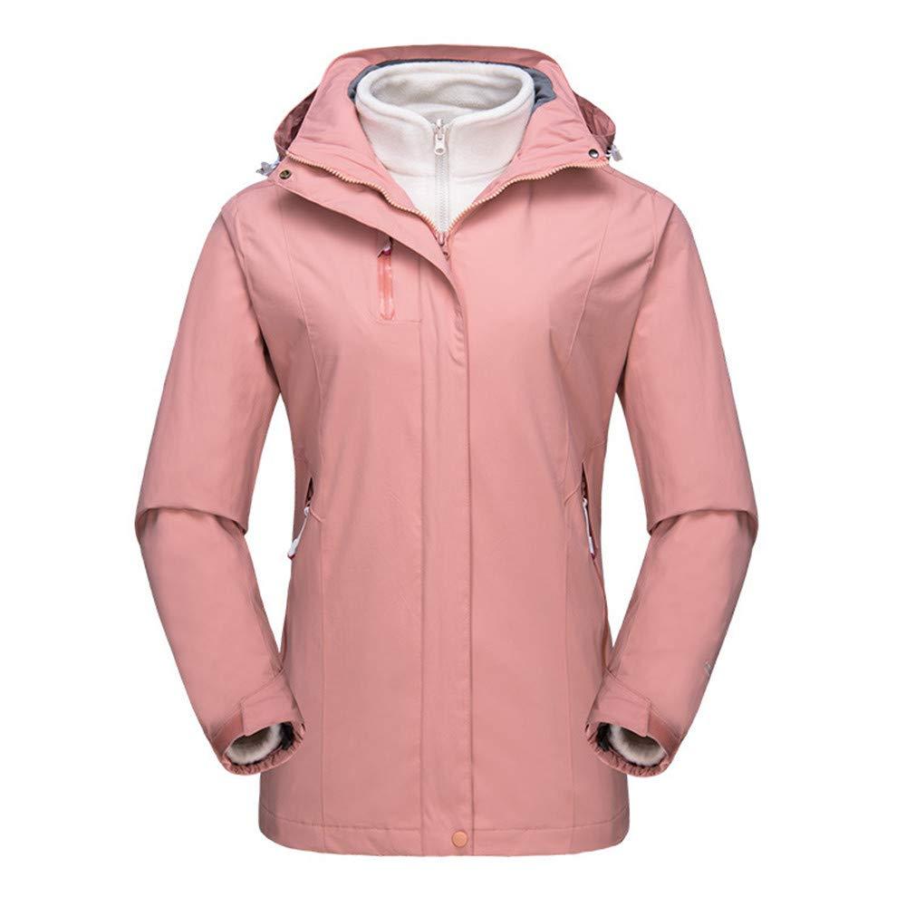 AiNaMei Frauen im Freien Jacken Volltonfarbe gepolsterte Skianzüge Bergsteigen tragen