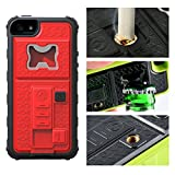 iphone 5 case with can opener - iPhone 5 Case, Multi-functional Built-in Cigarette Lighter/Bottle Opener & Camera Stable Tripod Protective Shock Proof Cover for Apple iPhone 5/5S/5SE (Red)