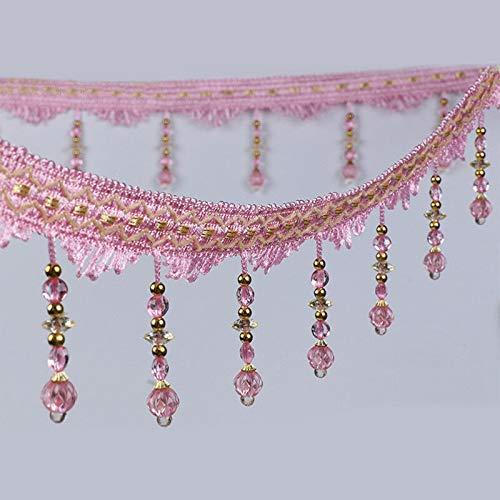 (MOPOLIS DIY 1m Curtain Sewing Tassel Fringe Trim Tassel Crystal Bead Lace Accessory | Color - Pink)