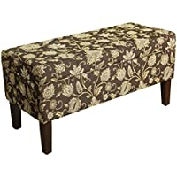 Kinfine Upholstered Storage Bench with Hinged Lid, Black Tan Damask