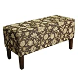 HomePop Upholstered Storage Bench with Hinged Lid, Black Tan Damask For Sale