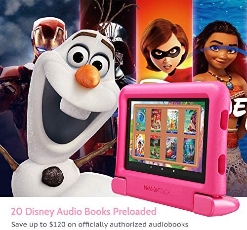 """Dragon Touch KidzPad Y88X 7 Kids Tablet With WiFi, Android 10, 7"""" IPS HD Display, 32GB ROM, KIDOZ Pre-Installed, With Disney Authorized Contents, Kid-Proof Case, Shoulder Strap And Stylus, Pink"""