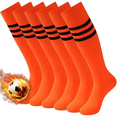 3street Long Soccer Socks Orange, Men Women Triple Striped Wicking Moisture Athletic Knee-High Football Cycling Running Compression Running Socks Orange 6 Pairs
