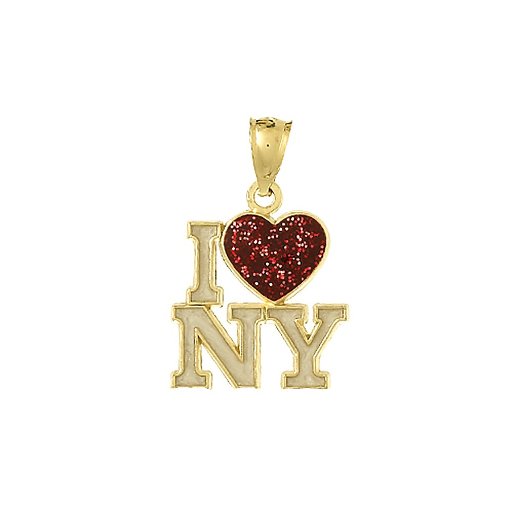 14k Yellow Gold Travel Charm Pendant, I Heart NY with Red Glitter Enamel