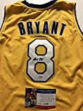 Autographed/Signed Kobe Bryant #8 Los Angeles Lakers Yellow Basketball Jersey PSA/DNA COA