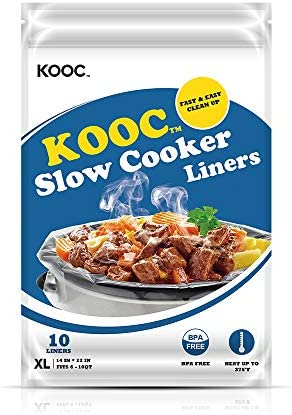 [NEW PACKAGE] KOOC Premium Disposable Slow Cooker Liners and Cooking Bags, Extra Large Size Fits 6QT to 10QT Crock Pot, 14″x 22″, 1 Pack (10 Counts), Equipped with Fresh Locking Seal Design, Suitable for Oval & Round Pot, BPA Free