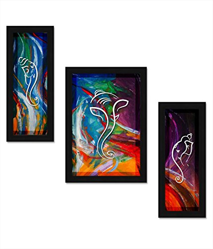 Avercart 3-Piece Set of Lord Ganesha / Shree Ganesh / Shri Ganpati Poster 12x18 inch with Photo Frame (30x45 cm framed) ()