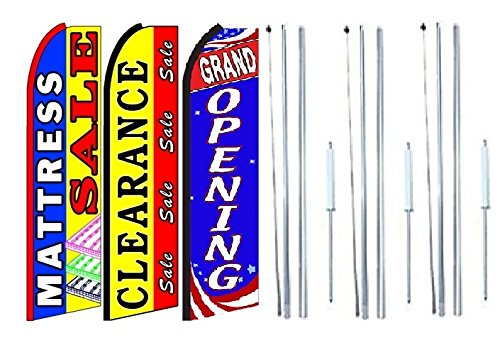 Pack of 3 Grand Opening King Swooper Feather Flag Sign Kit with Complete Hybrid Pole Set Mattress+Sale,Clearance+Sale