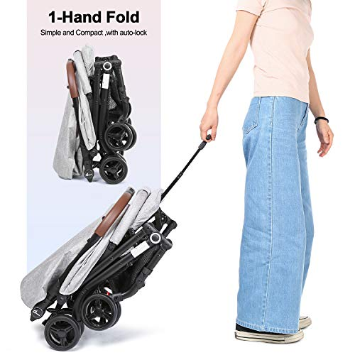 51bIXJ65rML - Lightweight Stroller, Baby Umbrella Strollers Foldable Compact Stroller For Travel, Convenience Stroller With Oversized Canopy/Easy One-Hand Fold/Extra-Large Storage (Gray)