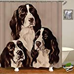 SARA NELL Shower Curtains English Springer Spaniel Portrait Pastel Shower Curtain Fabric Waterproof Fabric Bathroom Curtain Set with 12 Hooks - 72 x 72 Inch 6