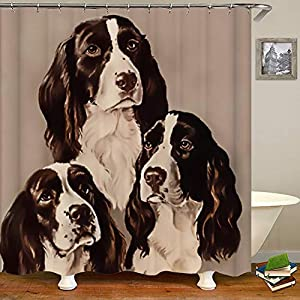 SARA NELL Shower Curtains English Springer Spaniel Portrait Pastel Shower Curtain Fabric Waterproof Fabric Bathroom Curtain Set with 12 Hooks - 72 x 72 Inch 3