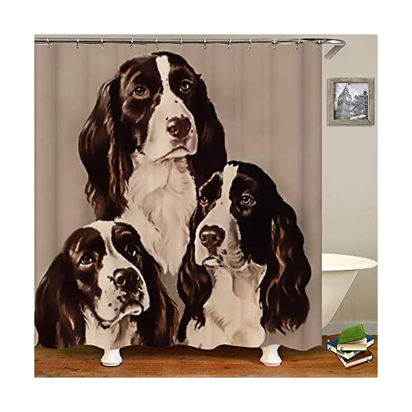 SARA NELL Shower Curtains English Springer Spaniel Portrait Pastel Shower Curtain Fabric Waterproof Fabric Bathroom Curtain Set with 12 Hooks - 72 x 72 Inch 1