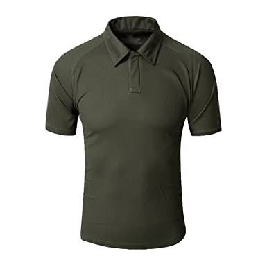 911f098e7399 Herren Moisture Wicking Outdoor Atmungsaktive Camo Taktisches T-Shirt  Kurzarm Revers Schnell Trocknend T-