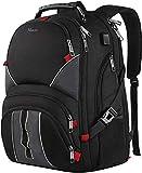 Extra Large School Backpack for Men, Durable Travel Laptop Backpack with USB Charging Port, TSA Friendly College Backpack for Men Women, Big Student Computer Bookbag for 17 Inch Laptop, Black