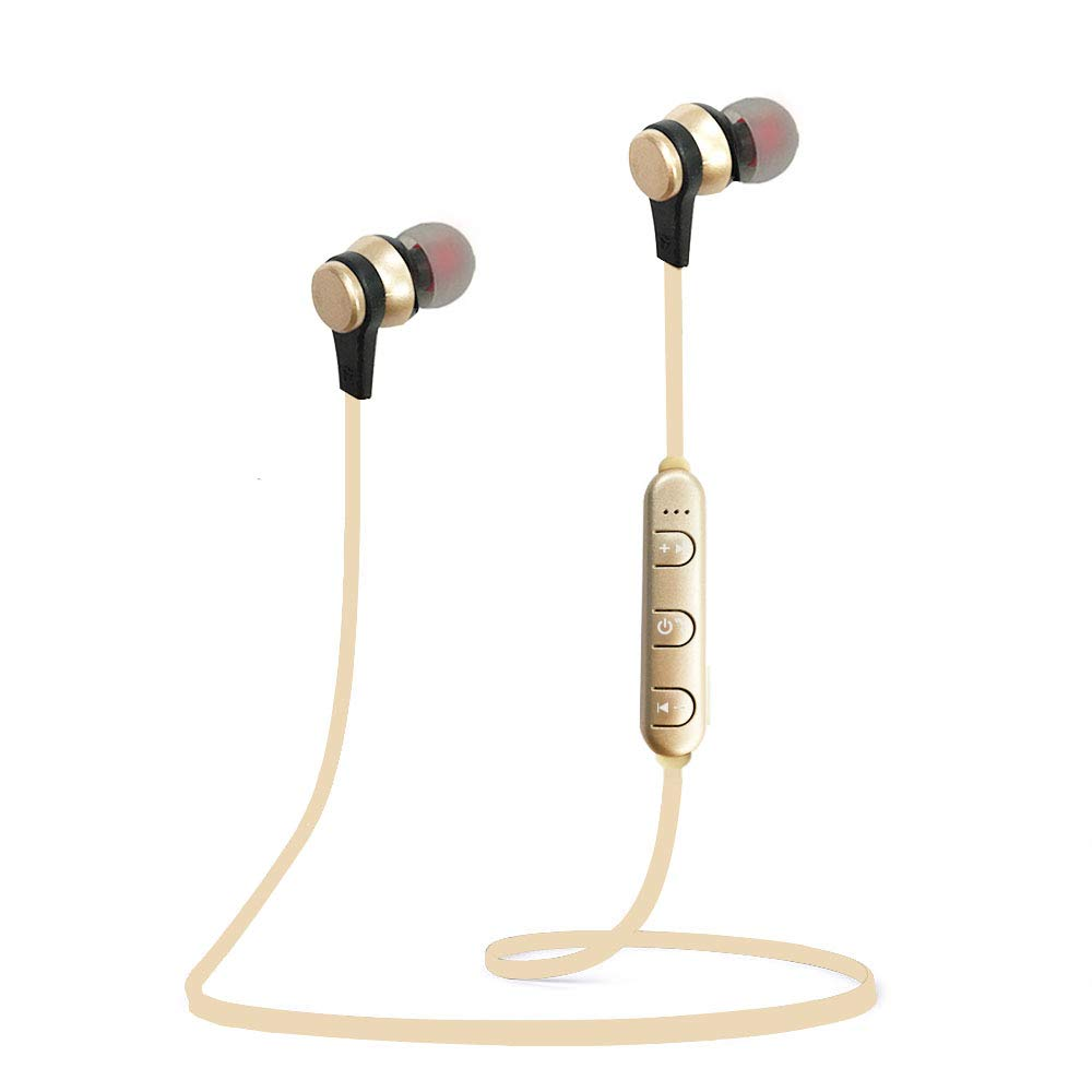 Woostar Bluetooth Headphones, Bluetooth 5.0 Wireless Magnetic Earbuds Sweatproof Earphones Stereo Headphones for Running Workout Gym Noise Cancelling Gold
