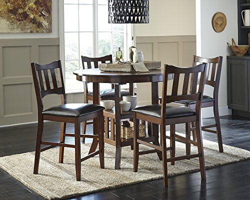 Renaburg Medium Brown Color Oval Counter Table W/ 4 Barstools