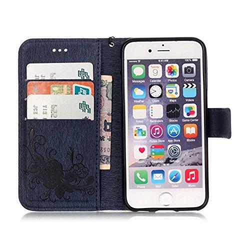 Voguecase® Pour Apple iPhone 6 Plus/6s Plus 5,5 Coque, Etui Housse Cuir Portefeuille Case Cover (Papillon IV-Bleu foncé)de Gratuit stylet l'écran aléatoire universelle