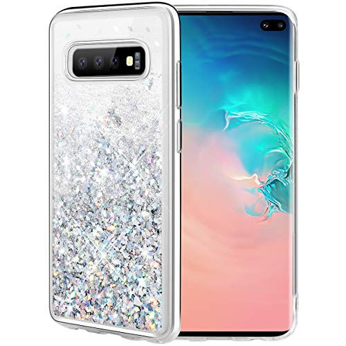 Caka Case for Galaxy S10 Plus Glitter Case Liquid Series Luxury Fashion Bling Flowing Liquid Floating Sparkle Glitter Soft TPU Case for Samsung Galaxy S10 Plus (Silver)