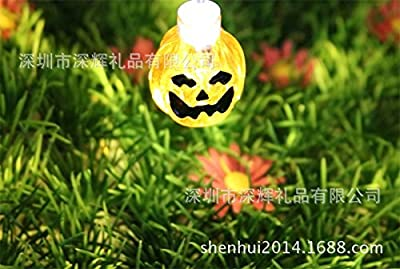YBB Solar Pumpkin String Lights, Waterproof Halloween Christmas Decoration String Lights, Solar Powered 3D Jack-O-Lantern LED Fairy String Lights for Outdoor, Home, Patio, Garden