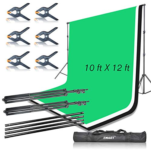 Emart Portable Photo Studio 9.2x10ft Background Support System with 3 Color Muslin Backdrops (Green Black White, 10ft X 12ft) for Portrait, Product Photography and Video Shooting