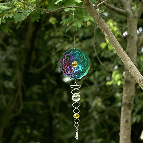 Ymeibe Sun Hanging Spinner Garden Galvanized Wind Spinner Outdoor with Helix Spiral Tail and Glass Ball 3-D Stainless Steel Kinetic Twisting Decor for Patio, Deck or Yard by Ymeibe (Image #6)