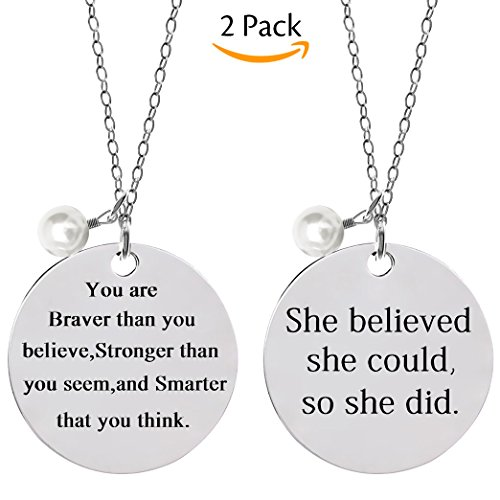 Price comparison product image Bassion 2 Pcs Stainless Steel Inspirational Necklace Jewelry Lettering Pendant Necklace Gift for Women Girls - You Are Braver Stronger Smarter Than You Think
