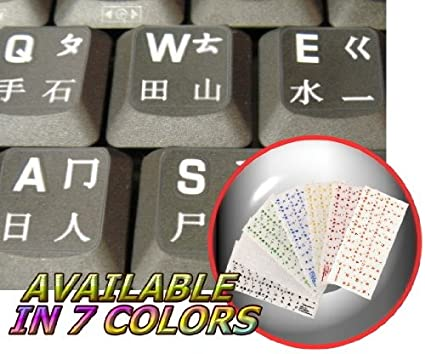 Chino pegatinas de teclado con letras blancas fondo transparente