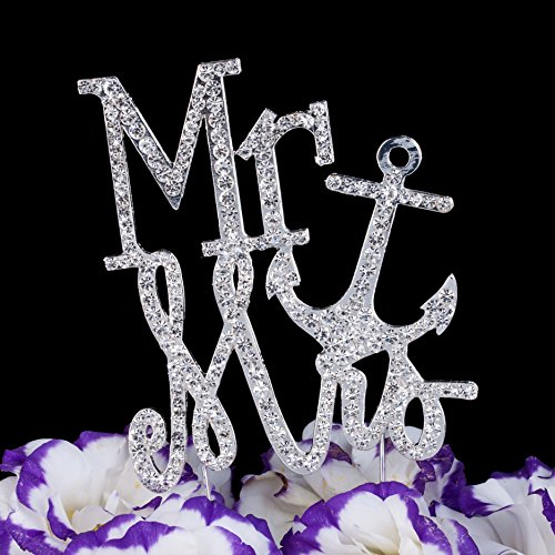 mr and mrs nautical anchor silver wedding cake topper