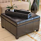 Drayton Espresso Leather Storage Ottoman For Sale