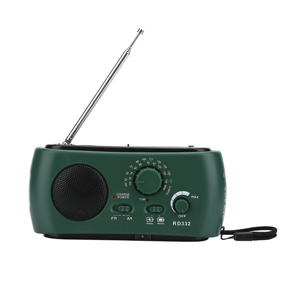Aramox Hand Crank Self Powered AM/FM Radio Solar Power Emergency NOAA Weather Radio with Power Bank, Emergency Phone Charger, Flashlight