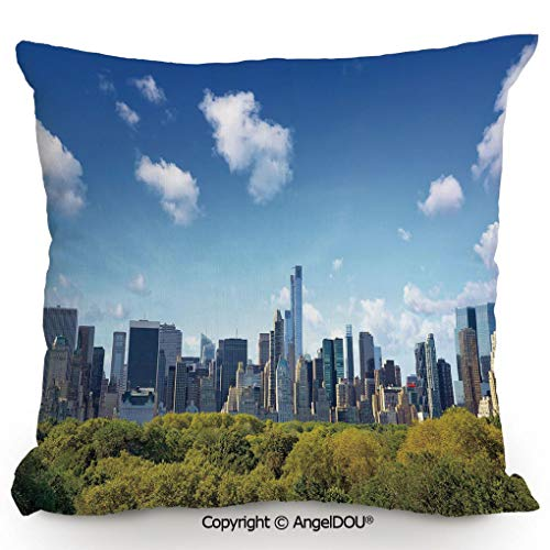 AngelDOU Nice Cotton Linen Pillowcase with core,Manhattan Skyline with Central Park in New York City Midtown High Rise Buildings,Sofa Car Chair Lumbar Bed Pillow Waist Cushion.13.7x13.7 inches