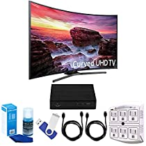 Samsung UN55MU6490 Curved 54.6 LED 4K UHD Smart TV Bundle includes TV, 2 HDMI Cables, 16GB Flash Drive, Screan Cleaner, Surge Adapter, and HD Digital TV Tuner with Recording