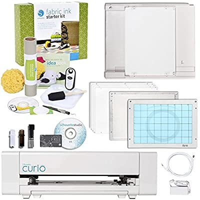 Silhouette Curio Digital Crafting Machine with Fabric Starter Kit Bundle