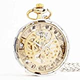 Zxcvlina Classic Smooth Exquisite Unisex Pocket Watch Transparent Women Men Golden Mechanical Pocket Watch with Chain Suitable for Gift Giving