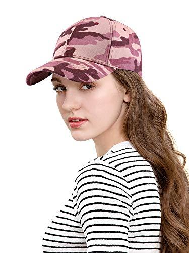 DOCILA Pink Camouflage Baseball Caps for Women Adjustable Cotton Hat (LightPink)