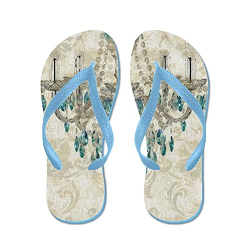 Damask Vintage Flip Beach Cafepress Sandals Funny Shabby Sandals Chandelier Chic Flops Blue Caribbean Thong TEqqafw