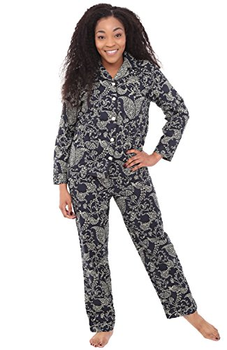 Alexander Del Rossa Womens Woven Cotton Pajama Set with Pants, Long Sleeve Button Down Pjs, Medium Midnight Blue Garden with Black Piping (A0517V74MD)