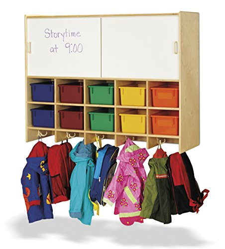 Jonti-Craft 0809JC 10 Section Wall Mount Coat Locker with Storage and Colored Cubbie-Trays