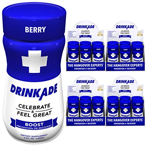 DrinkAde Boost - Energy, Hydration & Liver Detox   Caffeine, Electrolytes, Vitamin B, Milk Thistle, Green Tea Extract   Only 5 Calories   Vegan, Caffeine-Free, Non-GMO   was Never Too Hungover   24pk