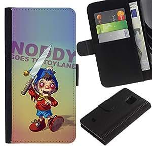 KingStore / Leather Etui en cuir / Samsung Galaxy S5 Mini, SM-G800 / Creepy Cuchillo Toy Horror Slogan Ugly aleatoria