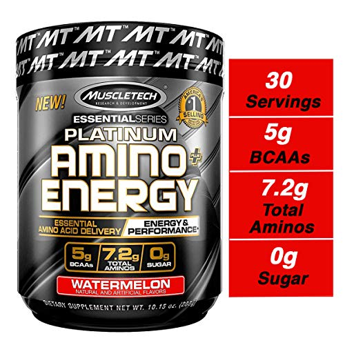 MuscleTech Essential Series Platinum Amino Plus Energy BCAA Powder, Watermelon, 10.15 Ounce, 30 Serving
