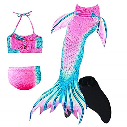 ESSL Tech Baby Girls Sparkle Mermaid Tails Swimsuit Swimmable Costume Bikini Sets Mermaid Tail Swimwear with Monofin -