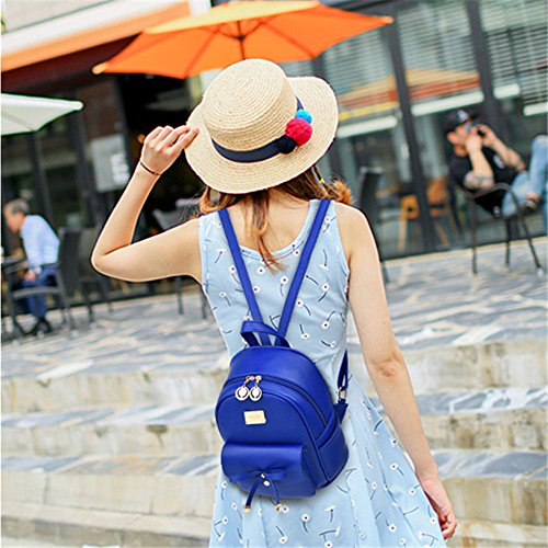 Girl with Bow Cute Leather Backpack Mini Backpack Wallet by QANPE (Image #6)
