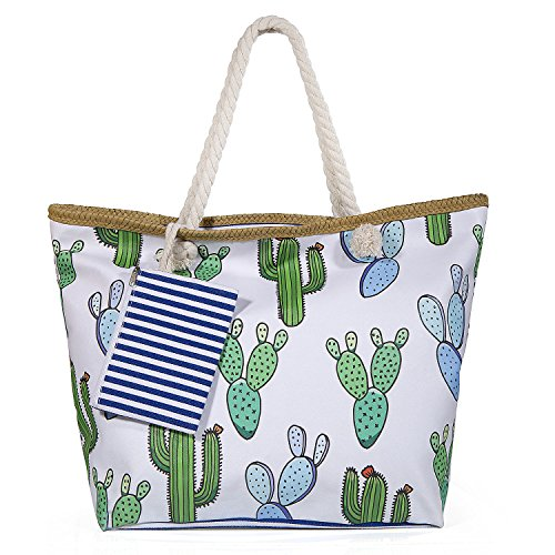 Diealles Canvas Beach Bag Large Woman, Large Beach Bag With Zipper For Women And Girls