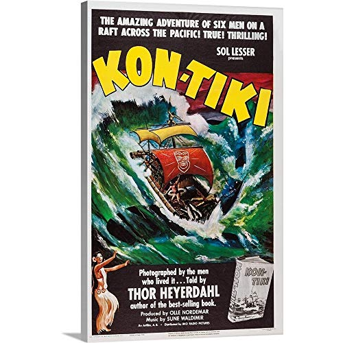 GREATBIGCANVAS Gallery-Wrapped Canvas Entitled Kon-Tiki, Norwegian Poster, 1950 by 20