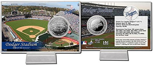 Los Angeles Dodgers Dodger Stadium Silver Plate Coin Card by The Highland Mint