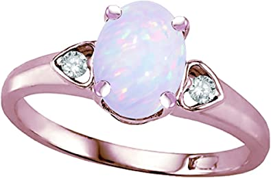 Oval 8.00mm October Birthstone Created Opal Gem Necklace Pendant 10K Yellow Gold